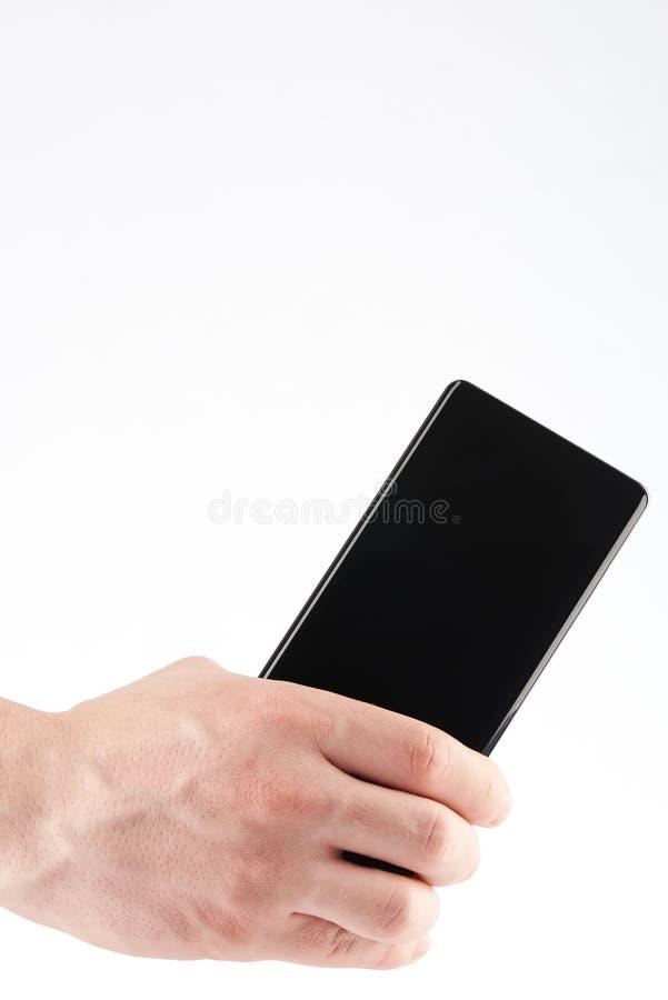 W górę tylnego nowożytnego smartphone w ręce zdjęcie stock