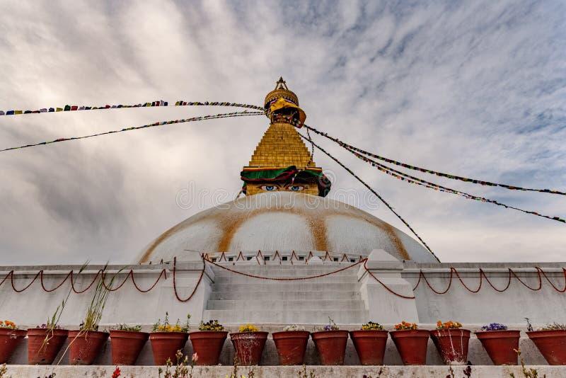 W górę widoku Boudhanath stupa obraz stock