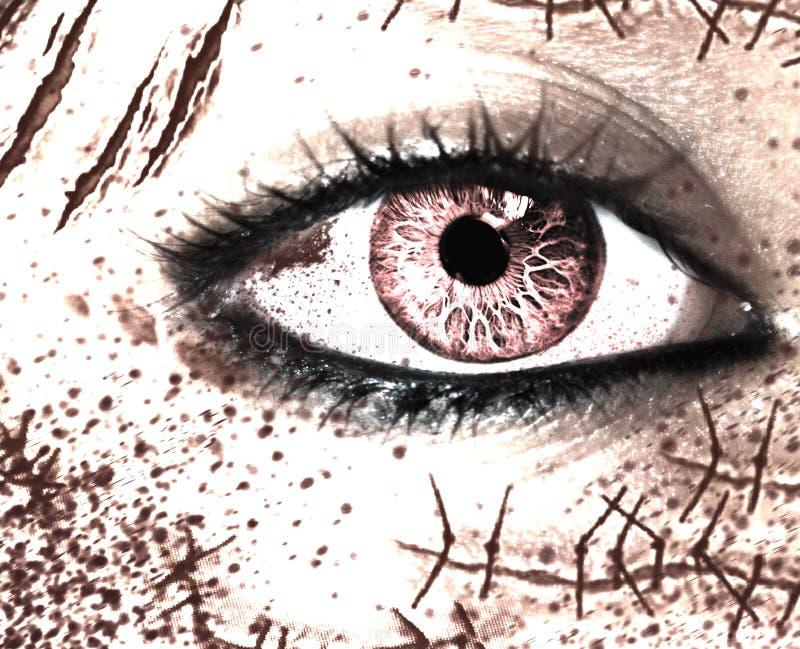 W górę widoku kobieta horroru oko z dużo okalecza na twarzy zdjęcie royalty free