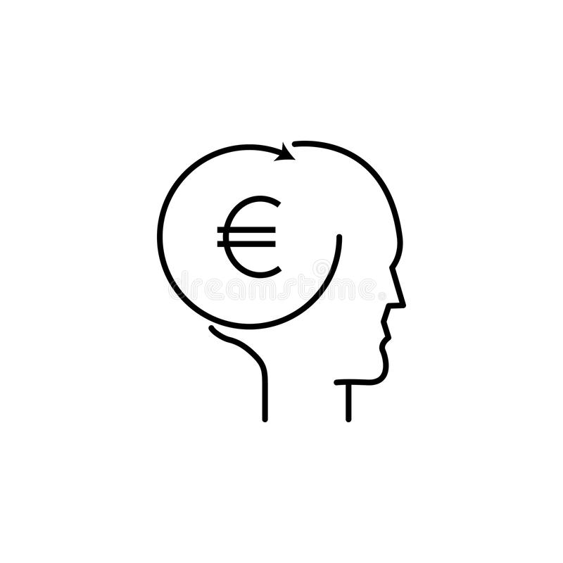 W głowie pieniądze ikona Element popularna finansowa ikona Premii ilości graficzny projekt Znaki, symbol inkasowa ikona dla sieci royalty ilustracja