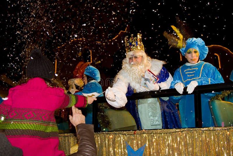 W Hiszpania Magi biblijna parada obrazy royalty free