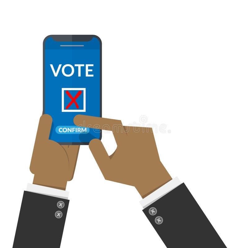 W?hlendes on-line-Konzept schwarze Menschen übergeben Presse, Knopf für Abstimmung über intelligentes Mobiltelefon zu bestätigen  lizenzfreie abbildung