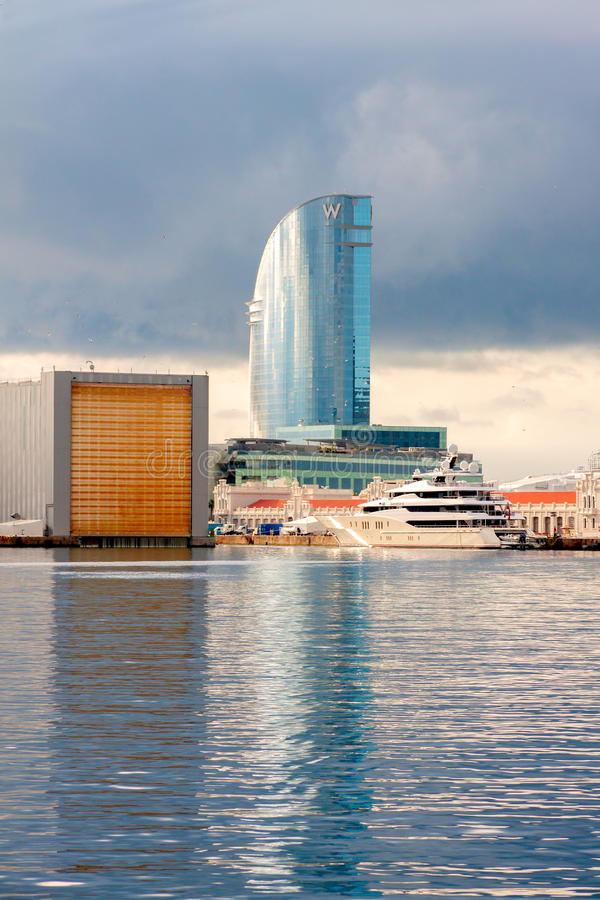 W Hotel in Barcelona. BARCELONA, SPAIN - MAY 2: W Hotel at Port Vell on May 2, 2014 in Barcelona. W Barcelona, popularly known as the Hotel Vela (Sail Hotel) due stock images