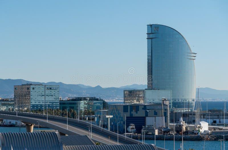 W-hotell i Barcelona från porten arkivbilder