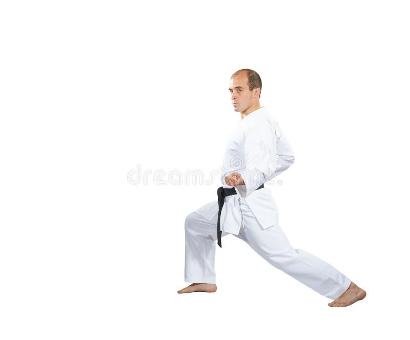 W karategi, mężczyzna robi blokowi z jego ręką obraz stock