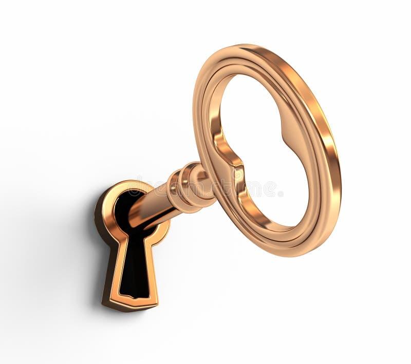 W keyhole złoty klucz ilustracja wektor