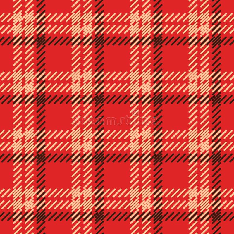 W kratkę czerwona tkaniny imitacja Prosta bezszwowa tekstura ilustracja wektor