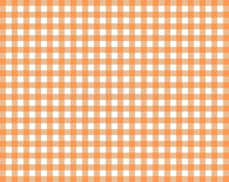 W kratkę tablecloth tła czerwona pomarańcze i biel zdjęcie royalty free