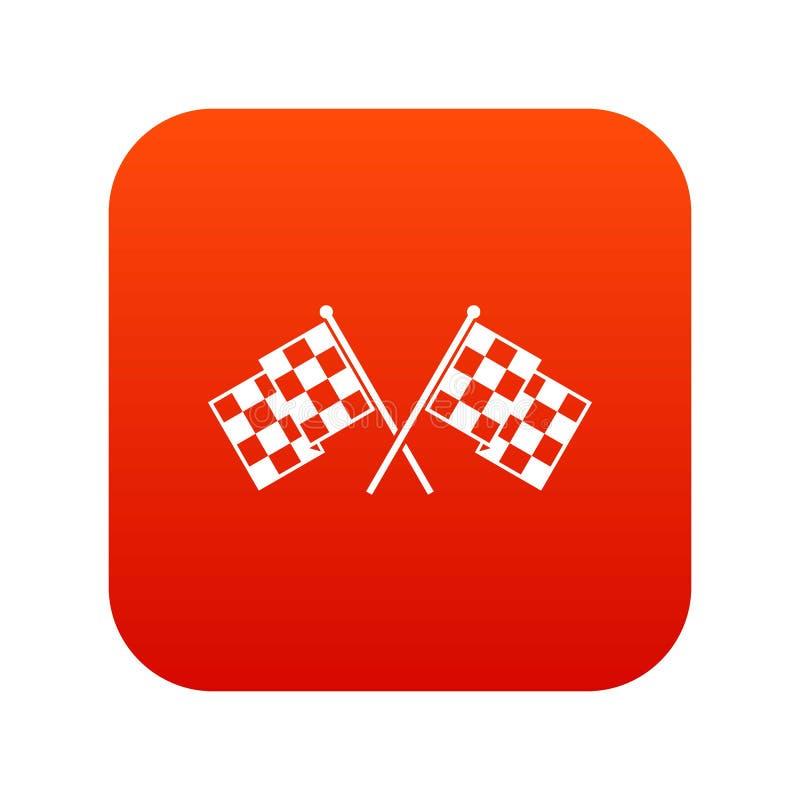 W kratkę ściga się flaga ikony cyfrowa czerwień ilustracja wektor