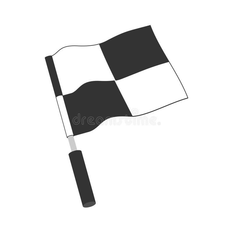W kratkę bieżna chorągwiana ikona Zaczynać chorągwiany samochodu i moto ścigać się Sportowego samochodu zwycięstwa turniejowy zna ilustracji