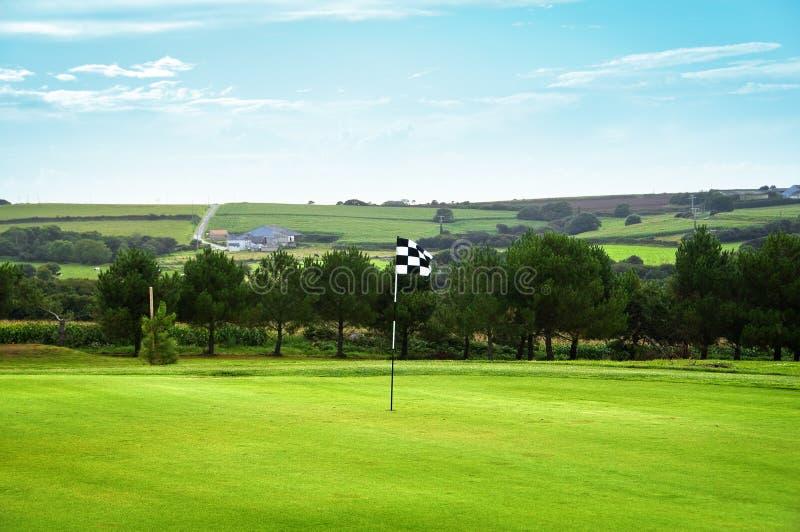 w kratkę flaga golfa zieleń zdjęcie stock