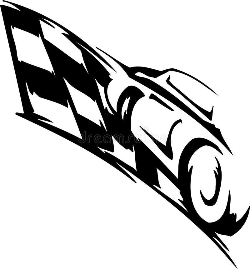 W kratkę flaga - symbolu ścigać się ilustracji
