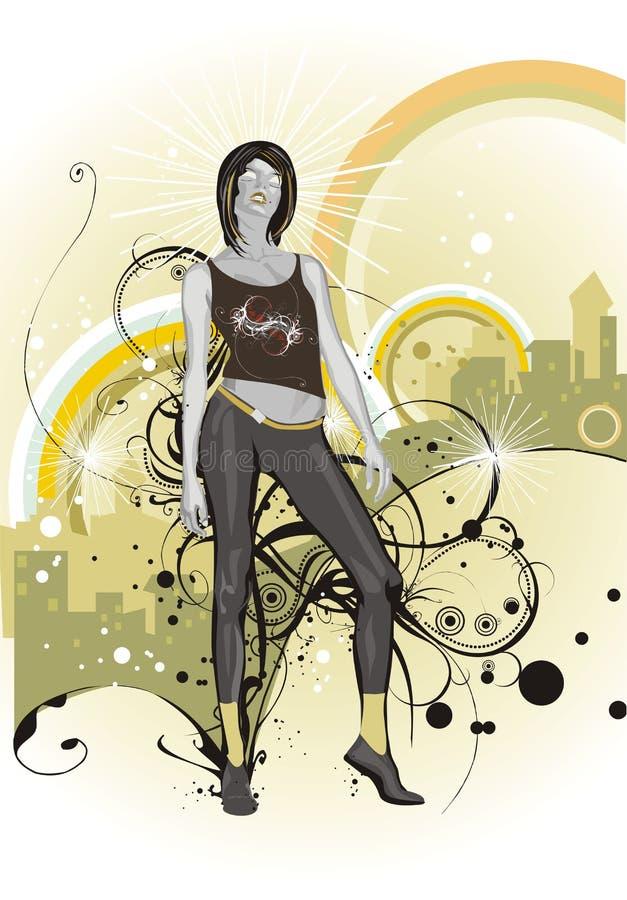 w kwiecistego kobiety ornam young miejskie ilustracji