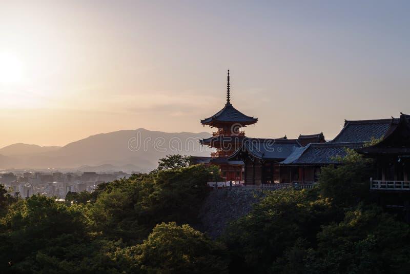 W Kyoto Kiyomizu-dera Świątynia, Japonia zdjęcia royalty free