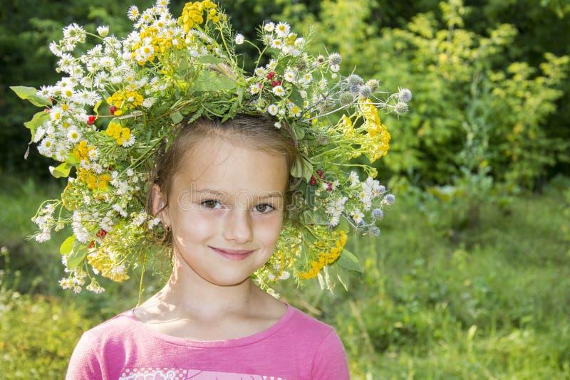 W lecie, pięknej dziewczynie w wianku stokrotki i innym flo, obraz stock