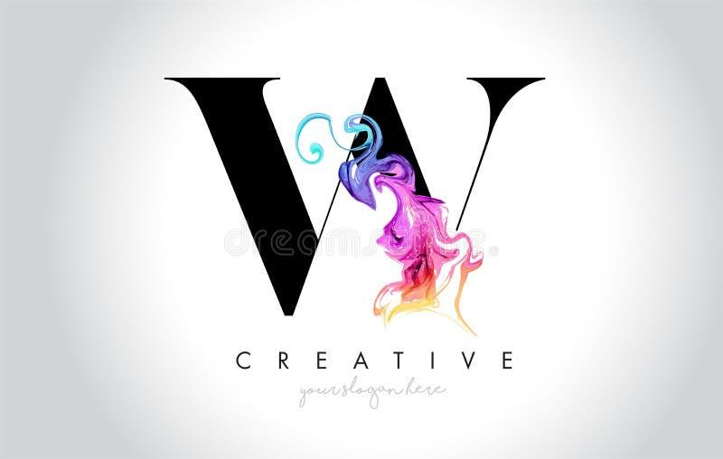 W Leter créatif vibrant Logo Design avec l'encre colorée Flo de fumée illustration stock