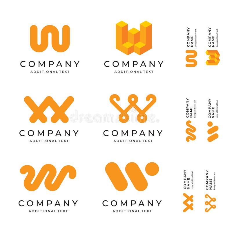 W Letter Logos Set Pack Modern Identity Brand Icons Business Symbol Concept Template royalty free illustration