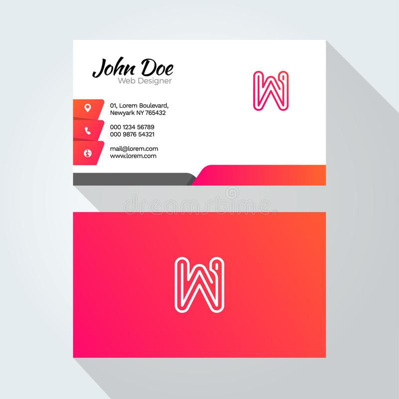 W Letter Modern Minimal Abstract Alphabet Business card design template royalty free illustration