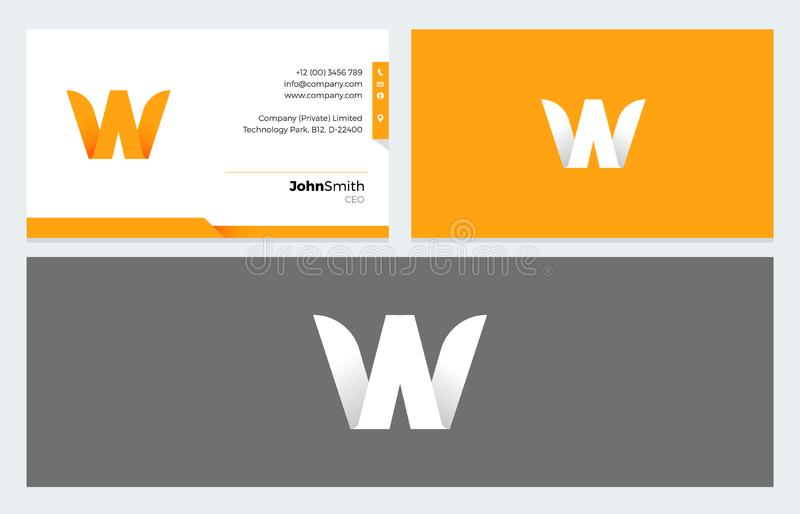 W Letter Origami logo and Business Card template. In Yellow, Black and White version for Corporate and Personal Visiting Cards vector illustration