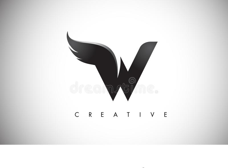 W Letter Wings Logo Design with Black Bird Fly Wing Icon. stock illustration