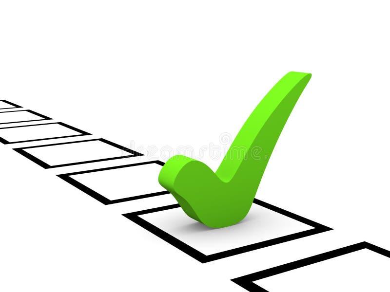 W liście kontrolnej zielony checkmark ilustracja wektor