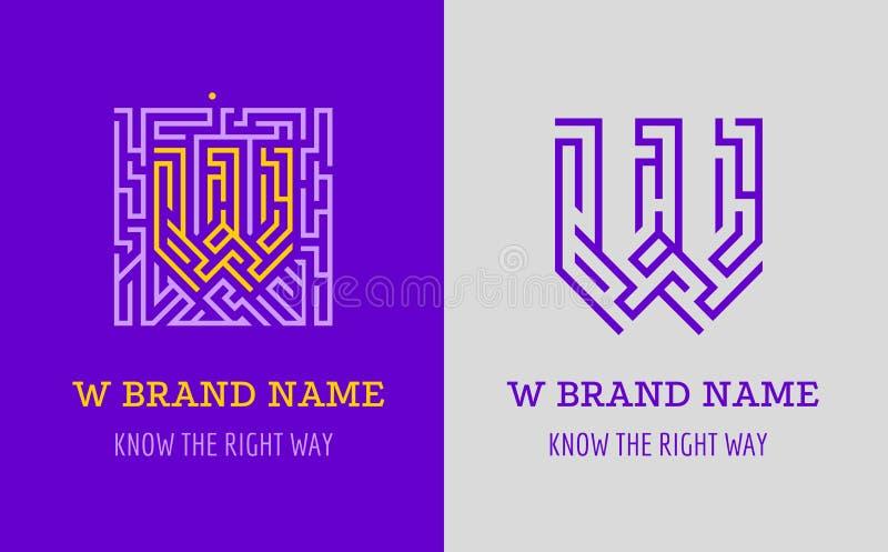 W listu logo labirynt Kreatywnie logo dla korporacyjnej tożsamości firma: listowy W Logo symbolizuje labitynt, wybór prawa ścieżk ilustracji