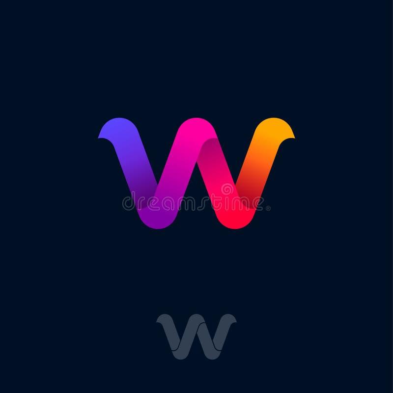 W-Logo bestehen aus Regenbogen-Band W-Origamimonogramm Netz, Netzikone lizenzfreie abbildung