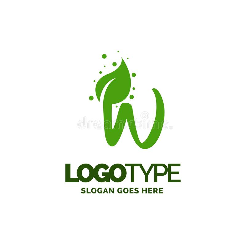 W logo with Leaf Element. Nature Leaf logo designs, Simple leaf. Logo symbol. Natural, eco food. Organic food badges in vector. Vector logos. Natural logos with vector illustration
