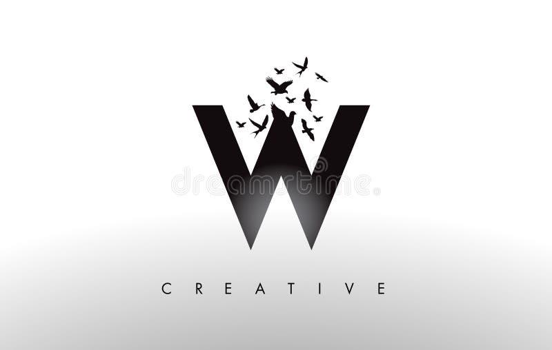 W Logo Letter con la multitud de los pájaros que vuelan y que se desintegran de stock de ilustración