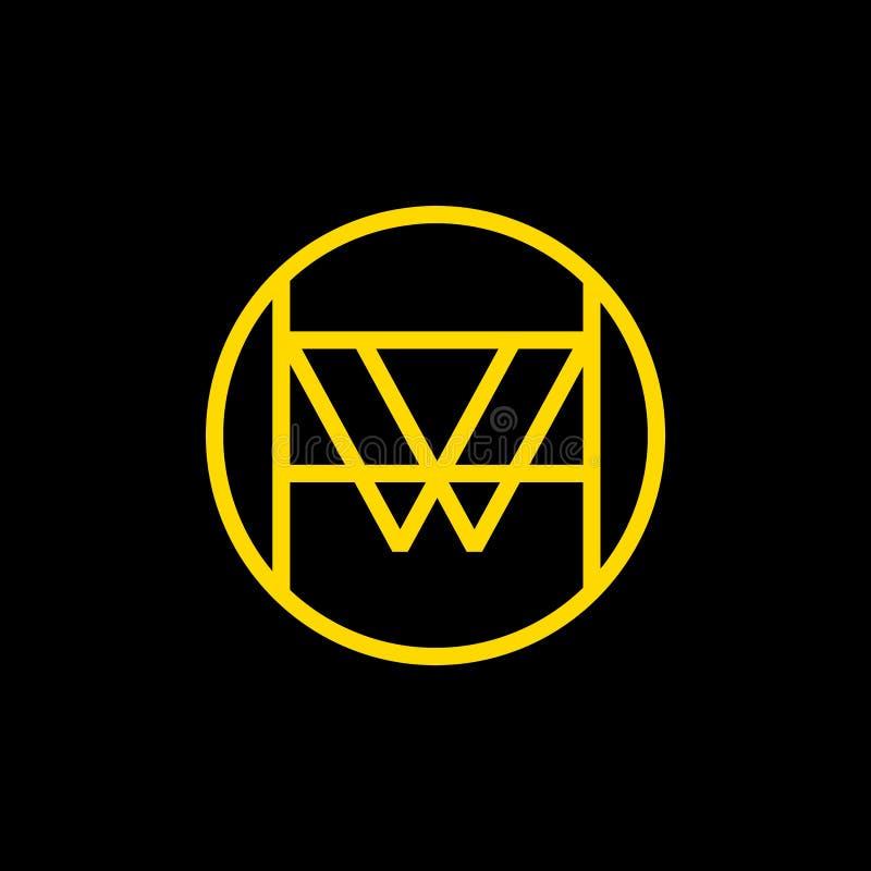 W logo wektorowy projekt W liniowy emblemat ilustracji