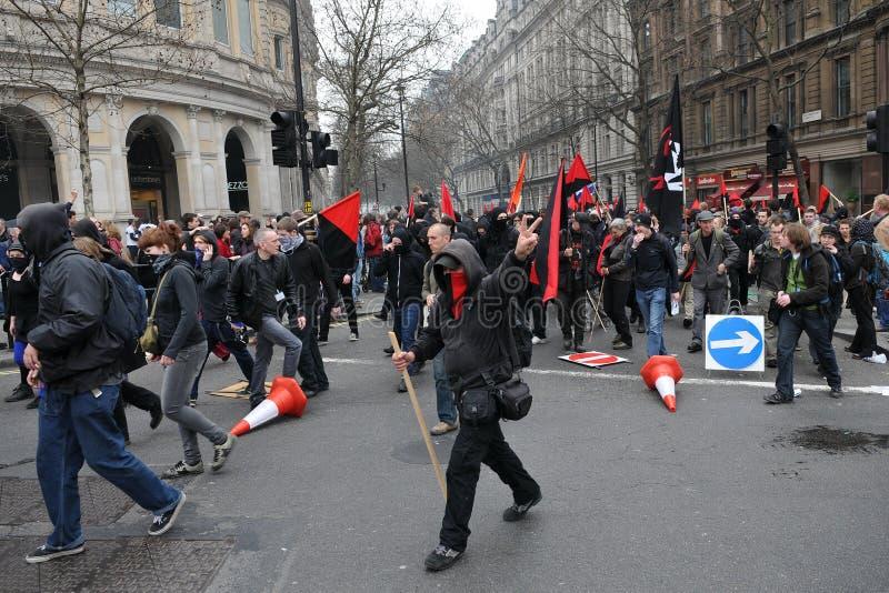 w Londyn cięcie Protest zdjęcia royalty free