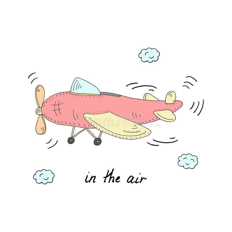 W lotniczej karcie z płaska ręka rysującą kreskówki wektorową ilustracją royalty ilustracja