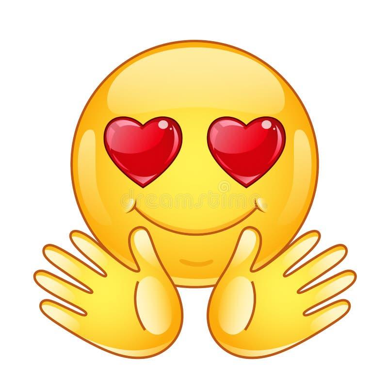 W miłości emoticon z otwartymi rękami ilustracja wektor