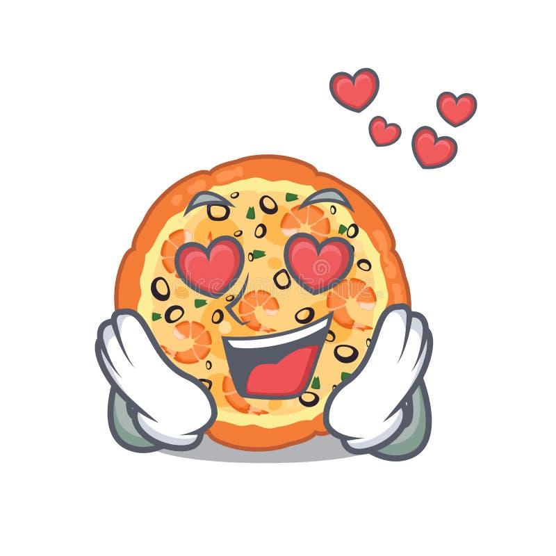 W miłości owoce morza pizzy w maskotka kształcie ilustracja wektor