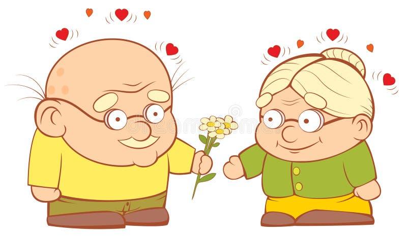W miłości stara para ilustracja wektor