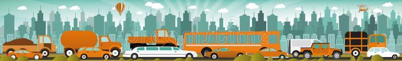 W mieście ruch drogowy dżem royalty ilustracja