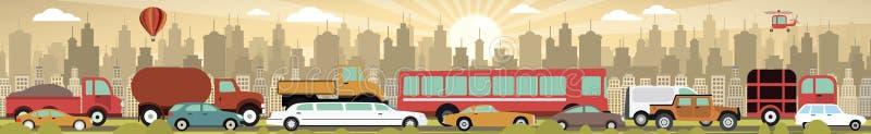 W mieście ruch drogowy dżem ilustracji