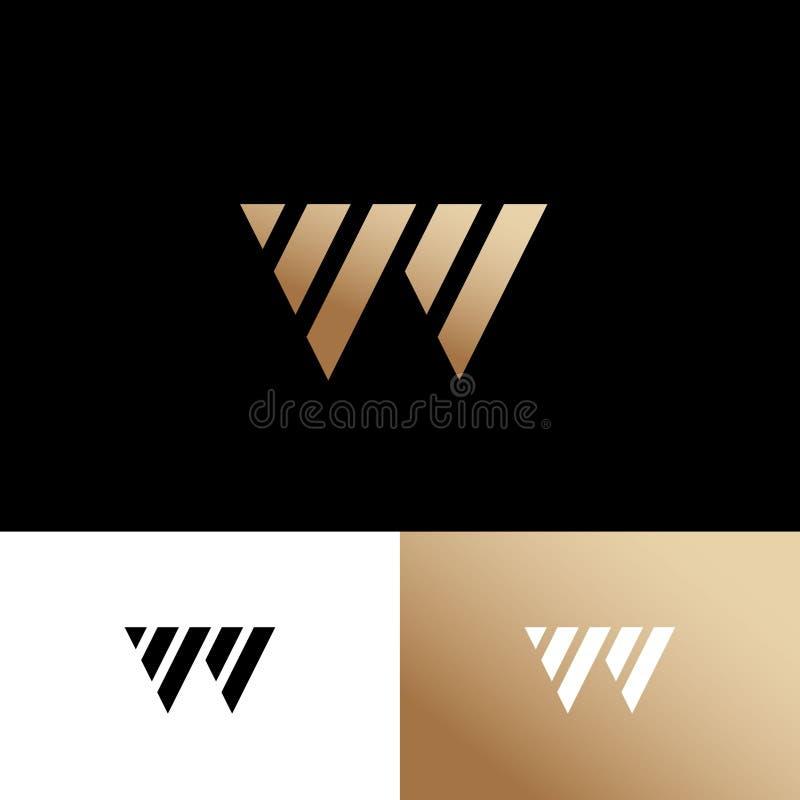 W-Monogramm Gold Logo Consist von parallelen geometrischen Formen auf verschiedenen Hintergründen vektor abbildung