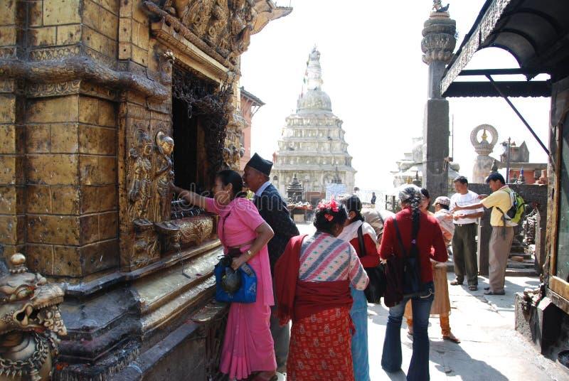 W Nepal Swayambhunath świątynia obrazy stock