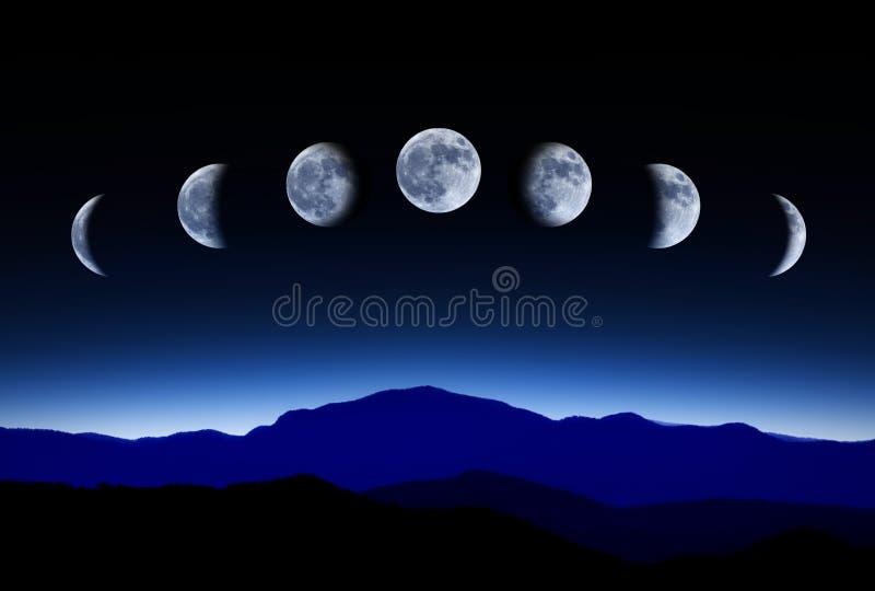 W nocnym niebie księżycowy księżyc cykl, upływa pojęcie zdjęcie royalty free