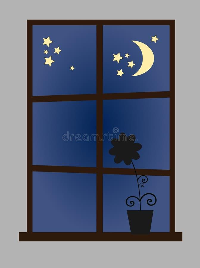 w nocy przez okno ilustracja wektor