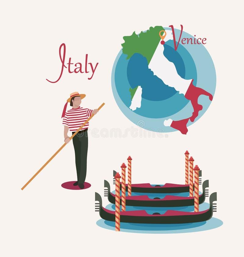 W?ochy mapa Wenecja Gondole i gondolier Set ilustracja wektor