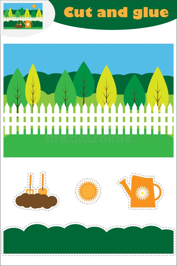 W ogrodowej kreskówce, edukacji gra dla rozwoju preschool dzieci, używa nożyce i kleidło tworzyć aplikację, cięcie ilustracji