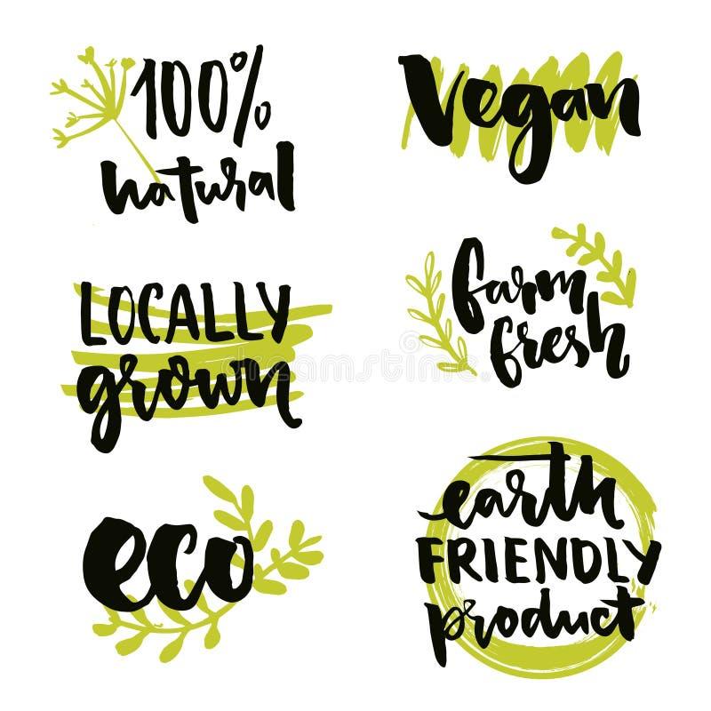 W okolicy r etykietki i weganinu znak Ziemski życzliwy produkt, Gmo majcheru bezpłatny projekt Rolna świeża inskrypcja Wektor 100 ilustracja wektor