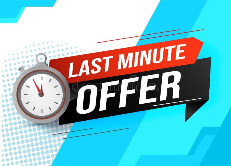 W ostatniej chwili oferta zegarka odliczanie sztandaru projekta szablon dla marketingu Ostatnia szansa handel detaliczny lub prom ilustracja wektor
