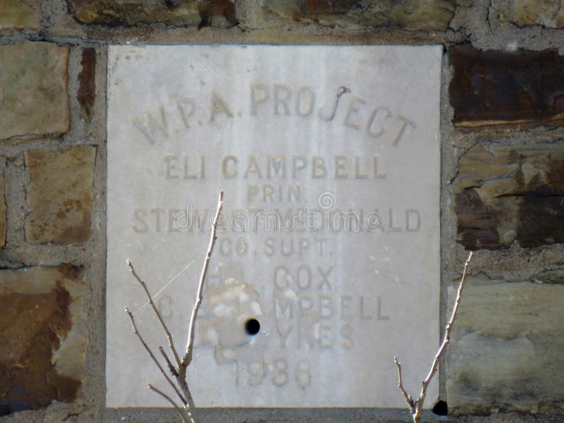 W.P.A. abandoned building signage, Oklahoma. Works Progress Administration in the Great Depression supplied funds for public works. WPA had a goal of employing stock images