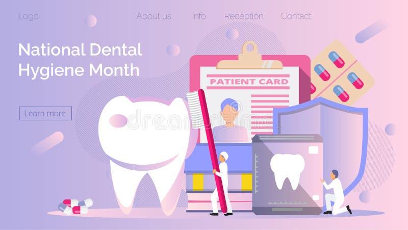 W październiku obchodzony jest Narodowy Miesiąc Higieny Psychicznej Mali dentyści robią prześwietlenie zębów, aby pomóc w bólu zę ilustracja wektor
