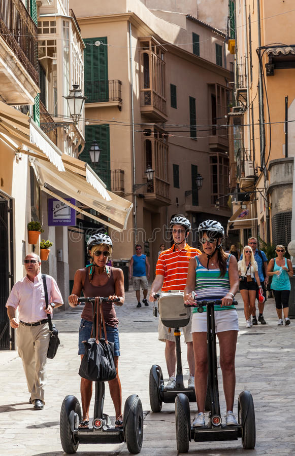 W Palma Segway Wycieczka Turysyczna De Mallorca Obraz Stock Editorial