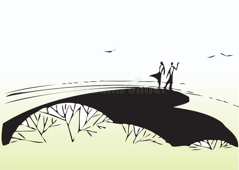 W parku artystyczna para ilustracja wektor