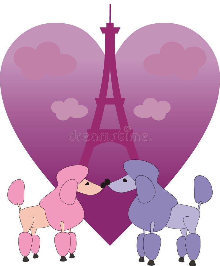 W Paryż zakochani mali pudle royalty ilustracja